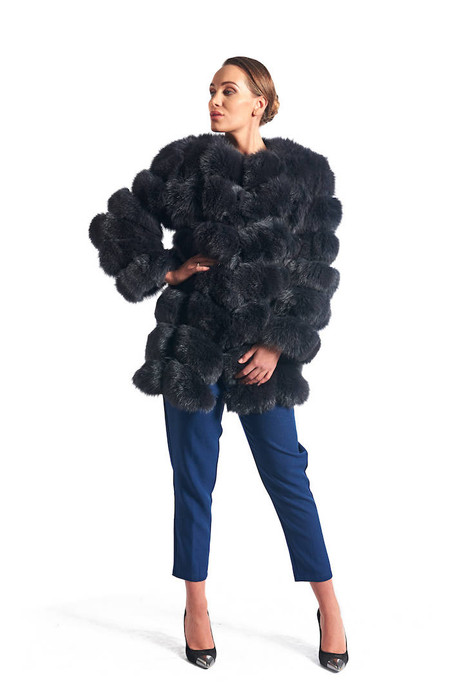 Gray Fox Fur Coat Collarless