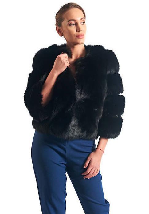 Black Fox Fur Jacket Lara