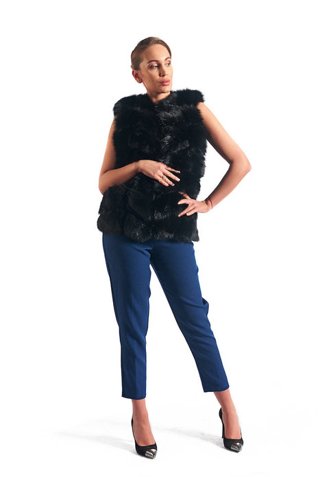 Black Fox Fur Vest collarless