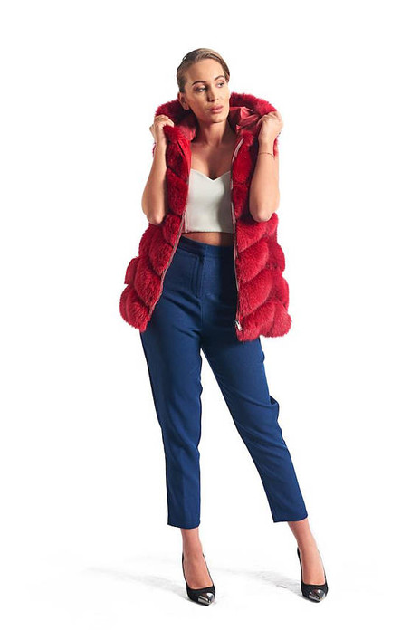 Red Fox Fur Vest Women's Hooded