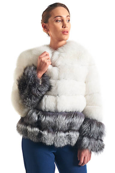 White and Silver Fox Fur Coat