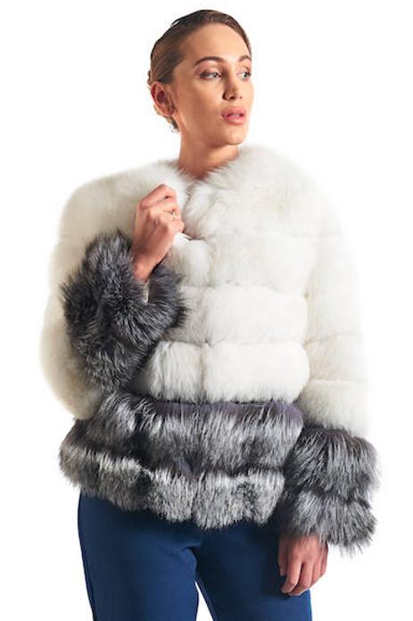 white and silver fox fur coat