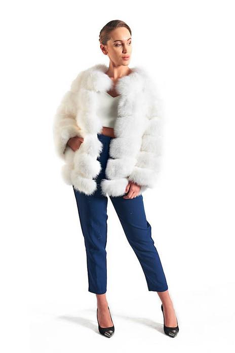 White Fox Fur Coat Women's