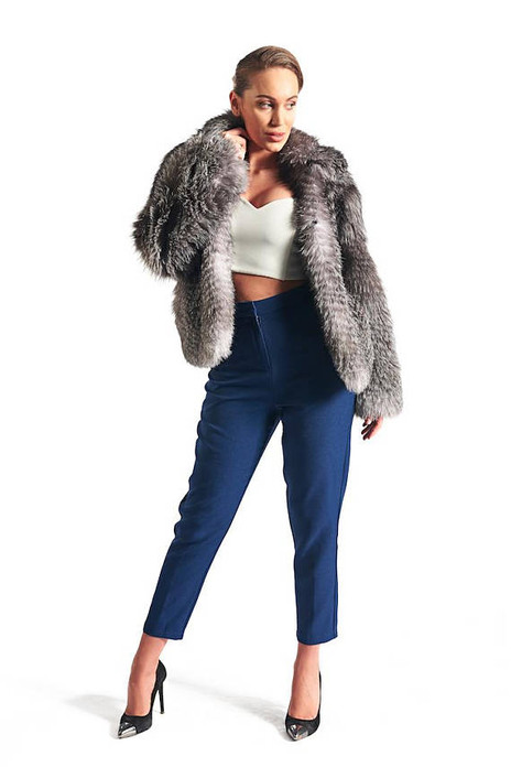 Blue Frost Fox Fur Coat Women's