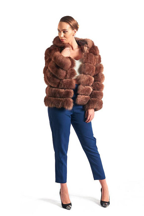 Brown Fox Fur Coat Women's Hooded