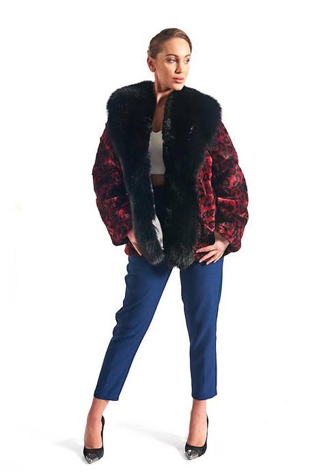 Red and Black Beaver Fur Coat