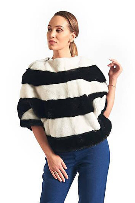 black and white monk fur pullover