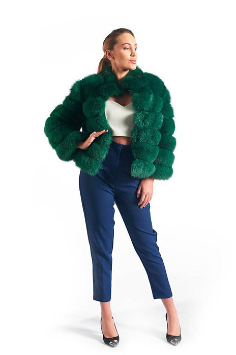 Short Green Fox Fur Coat