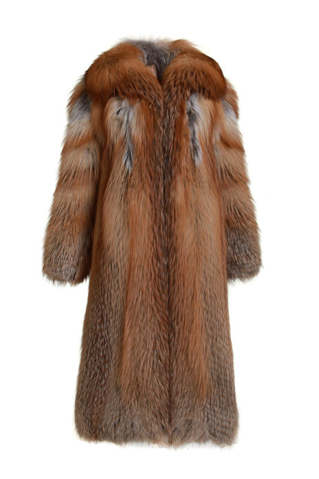 long red fox fur coat fully let out with shawl fox collar