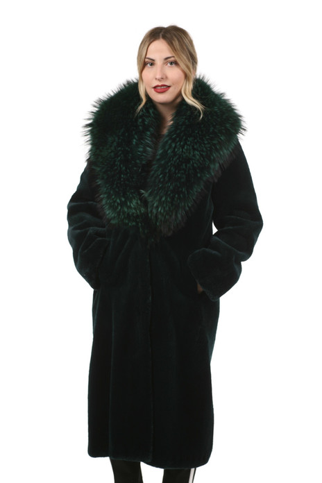 long green mink fur coat with shawl fox fur collar