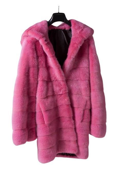 hppded pink mink fur coat