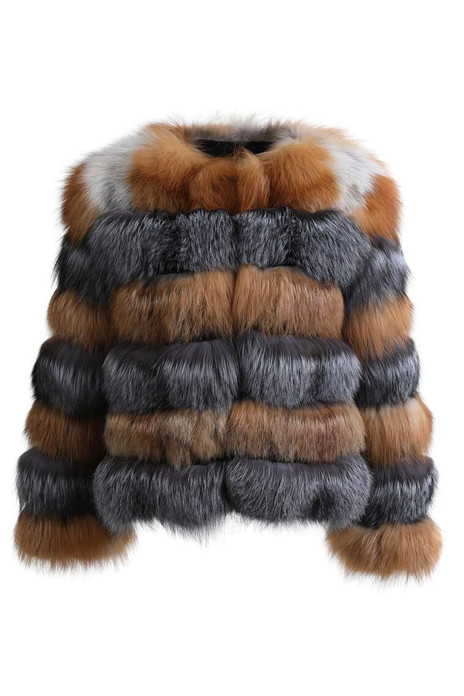 multicolor fox fur  coat with low cut collar  made of red and silver fox