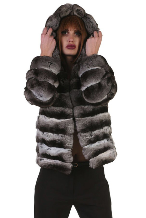 hooded short chinchilla coat on model