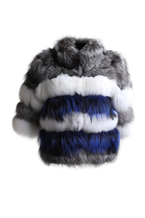 blue white silver fox fur jacket cropped sleeves