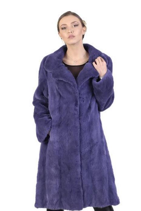 purple mink fur coat knee length fully let out tapered waist side slits