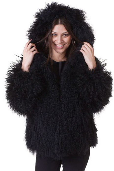 Black Mongolian Lamb Fur Coat Hooded