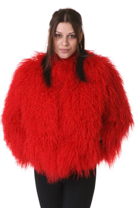 Red Mongolian Lamb Fur Coat