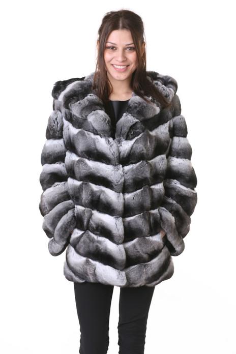 hooded chinchilla coat , mid-hip length on stunning brunette model