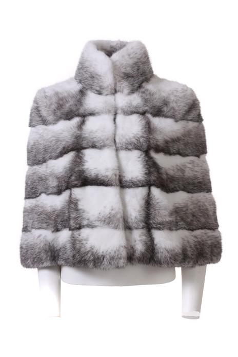 black cross mink fur cape stand up collar