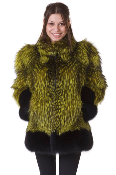 green and black fully let out fox fur coat with padded shoulders