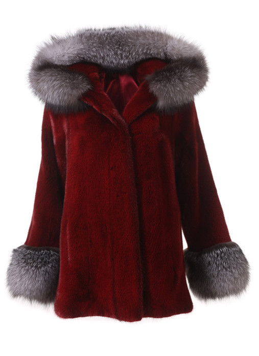 Burgundy  mink fur coat with blue frost fox trim