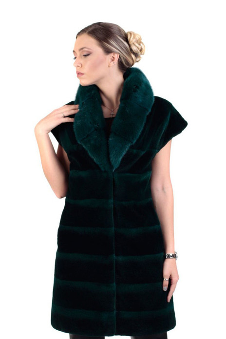 long green mink fur vest with shawl collar