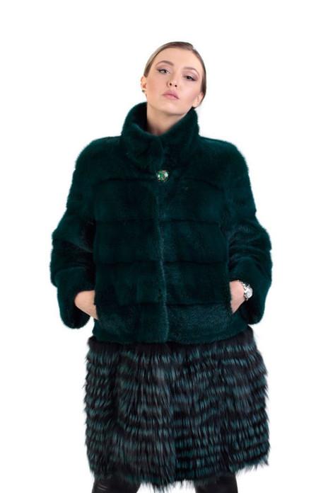 green mink  and fox fur coat