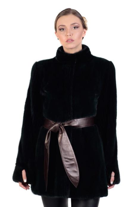 black mink fur coat with leather belt