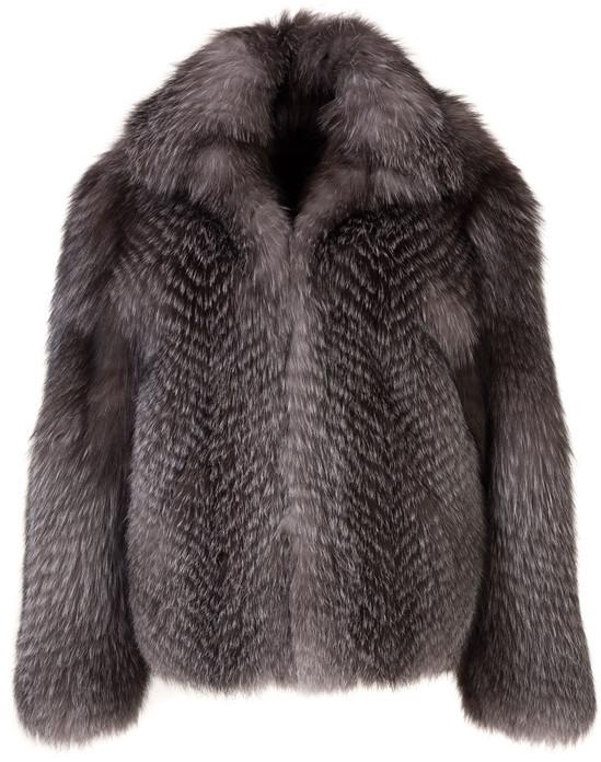 men's fox fur coat blue frost fully let out