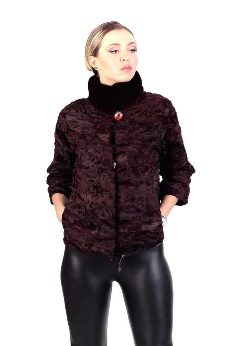 brown lamb fur coat with mink collar
