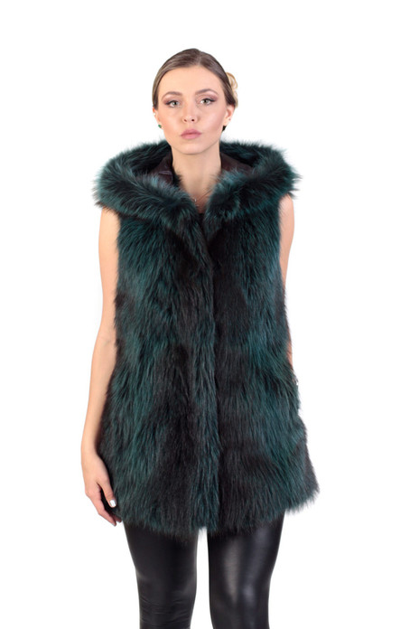 Green Raccoon  Fur Vest Hooded