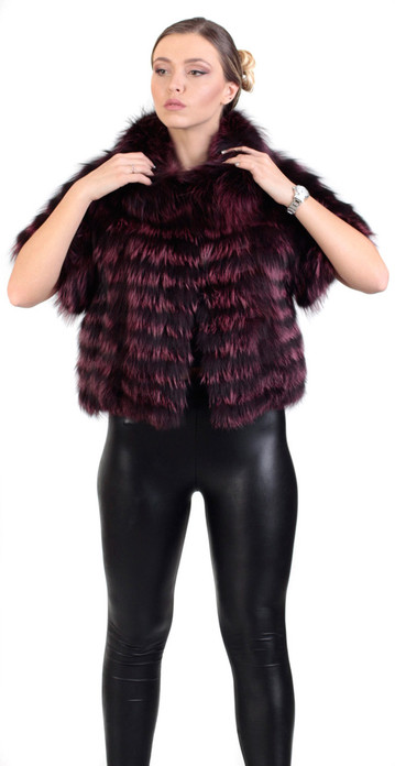 Purple Raccoon  Fur Jacket Cropped
