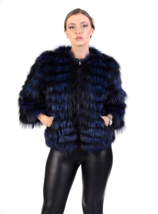 Blue Black   Raccoon  Fur Jacket Cropped Sleeves