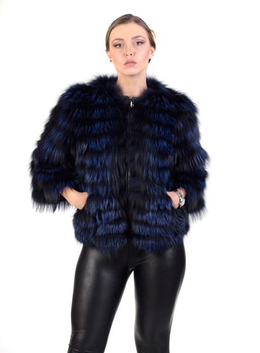 Blue Black   Raccoon  Fur Jacket Cropped Sleeves