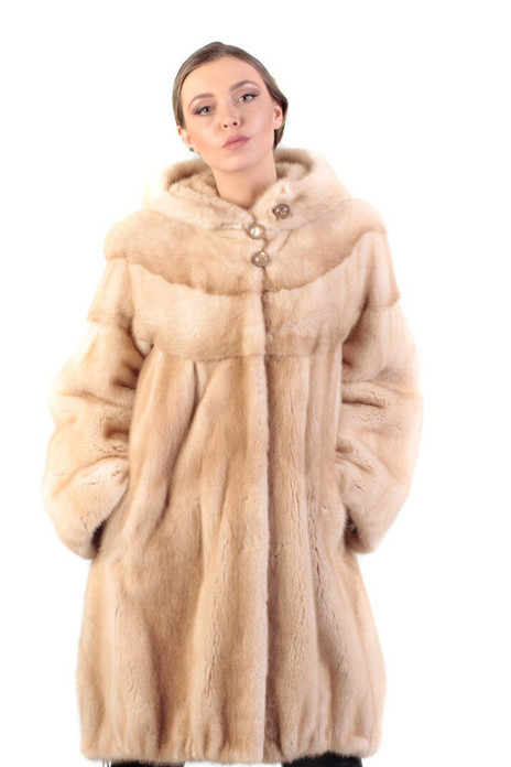 pastel hooded moink fur coat with draw strings on bottom sweep