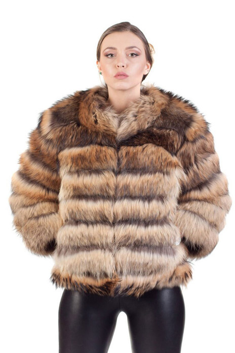blue hooded fox fur vest with assymetric cut