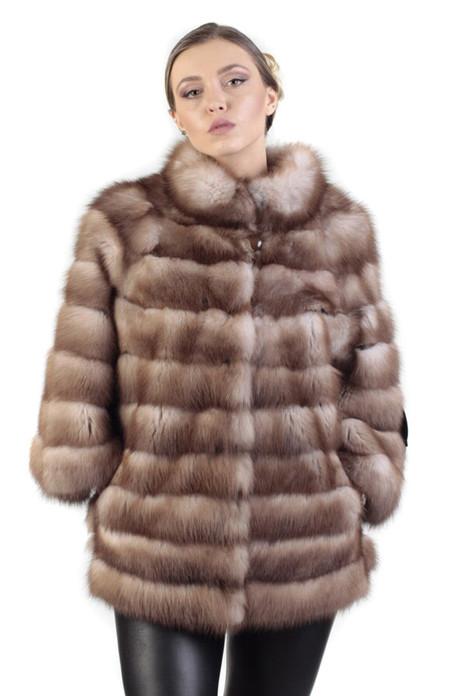Golden Brown Sable Fur Coat with Slits