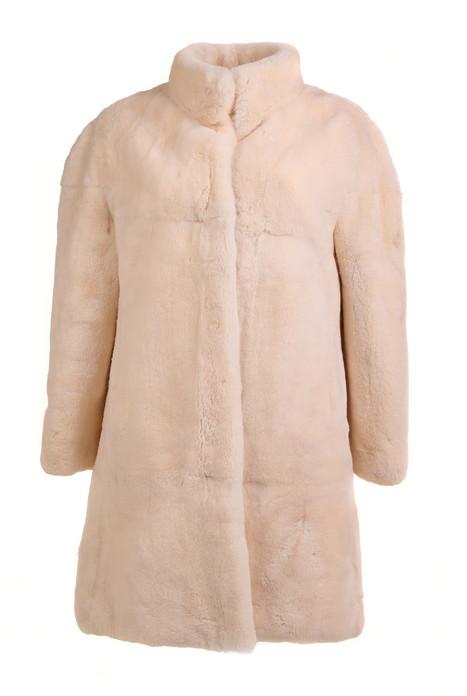 Off White Sheared Beaver Fur Coat