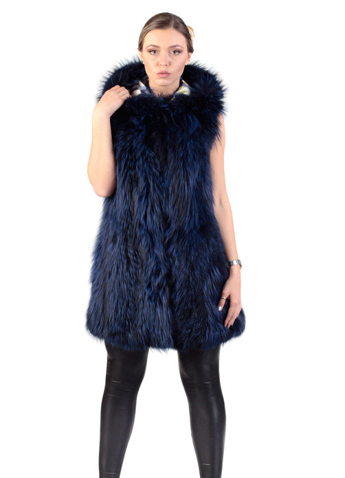 fully let out blue black fox fur vest  with hood