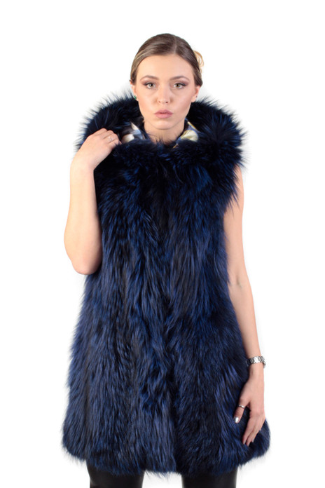 Blue Black Fox Fur Vest Hooded