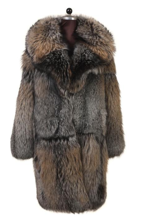 men's long fox fur coat notched collar skin to skin