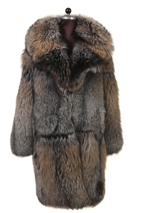 men's long fox fur coat notched collar skin to skin