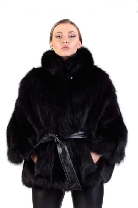 Black Fox Fur Cape & Leather belt