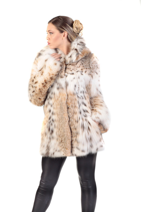 hooded  hip-length lynx coat with skins sewn vertically