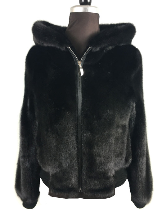 Men's black Mink Fur Bomber jacket with zipper  Hooded  front view
