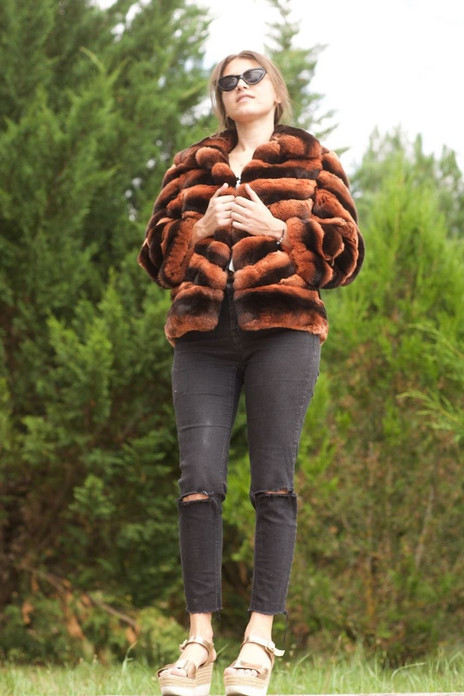 Chinchilla Fur Jacket Scarlet