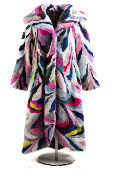 multicolor mink fur coat with hood full length