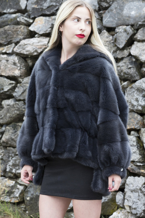 navy mink fur jacket hooded