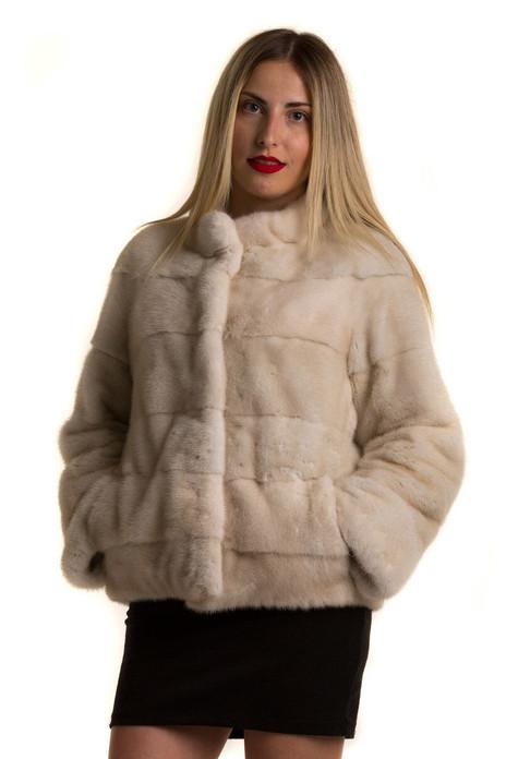 off white waist length mink fur jacket