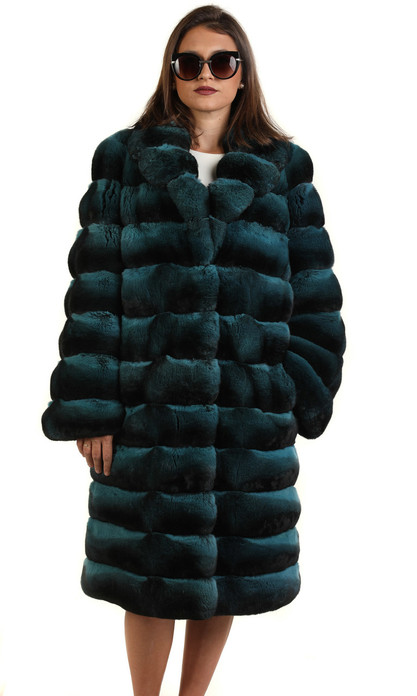 turqoise chinchilla  coat knee length with tapered waist and v neck collar